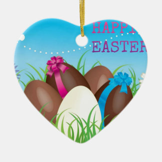 Happy Easter Choclate Eggs Double-Sided Heart Ceramic Christmas Ornament