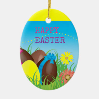 Happy Easter Choclate Eggs Double-Sided Oval Ceramic Christmas Ornament