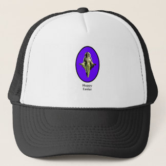 Happy Easter Christ Image Canterbury Purple Trucker Hat