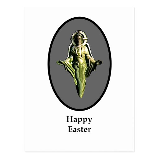 Happy Easter Christ Image Canterbury Silver Postcard