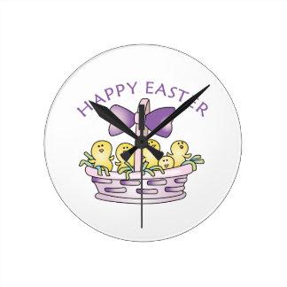 Happy Easter Round Clocks