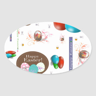 Happy Easter Collage Oval Sticker