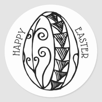 Happy Easter Color Your Own Hand Drawn Easter Egg Classic Round Sticker