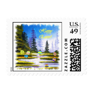 Happy Easter Colored Eggs and Pine Forest Stamp