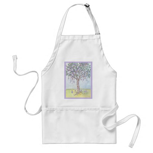 Happy Easter Colored Eggs Tree with Purple Ribbon Apron
