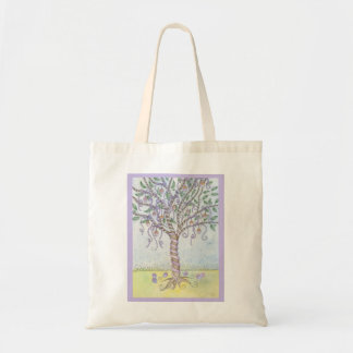 Happy Easter Colored Eggs Tree with Purple Ribbon Budget Tote Bag
