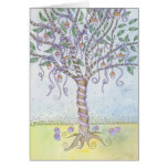 Happy Easter Colored Eggs Tree with Purple Ribbon Greeting Card
