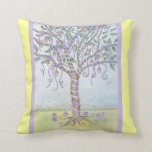Happy Easter Colored Eggs Tree with Purple Ribbon Throw Pillows