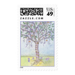 Happy Easter Colored Eggs Tree with Purple Ribbon Postage