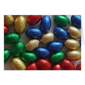 Happy Easter Colorful Chocolate Eggs Photography Card