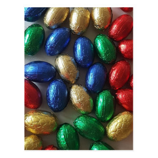 Happy Easter Colorful Chocolate Eggs Photography Postcard
