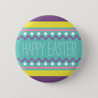 Happy Easter - Colorful Egg Design Pinback Button