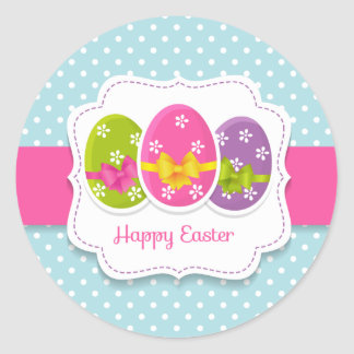 Happy Easter Colorful Eggs Greeting Classic Round Sticker