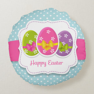 Happy Easter Colorful Eggs Greeting Round Pillow