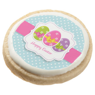 Happy Easter Colorful Eggs Greeting Round Shortbread Cookie