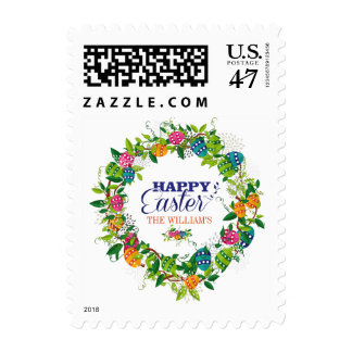 Happy Easter Colorful Eggs & Spring Flowers Wreath Postage