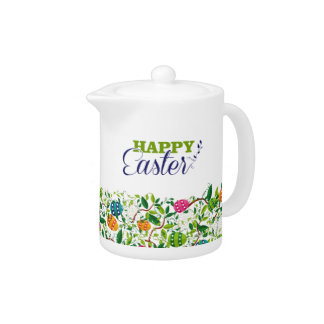 Happy Easter Colorful Flowers & Easter Eggs Design Teapot