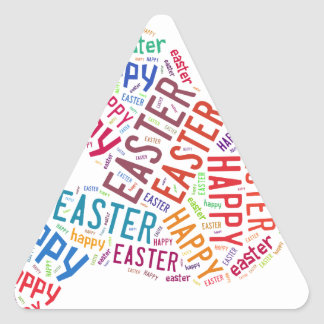 Happy Easter Colorful Greeting Text Triangle Sticker