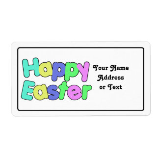 Happy Easter Colorful Text Design Shipping Label