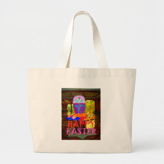 Happy Easter Colors Large Tote Bag