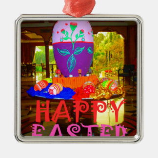 Happy Easter Colors Metal Ornament