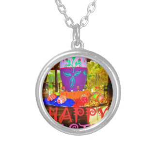 Happy Easter Colors Round Pendant Necklace