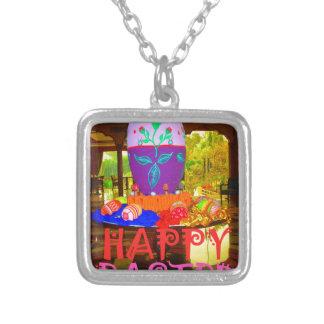 Happy Easter Colors Square Pendant Necklace