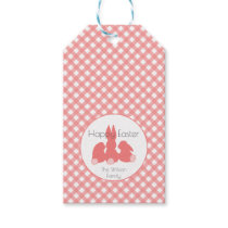 Happy Easter  Coral Gingham Personalized Gift Tags