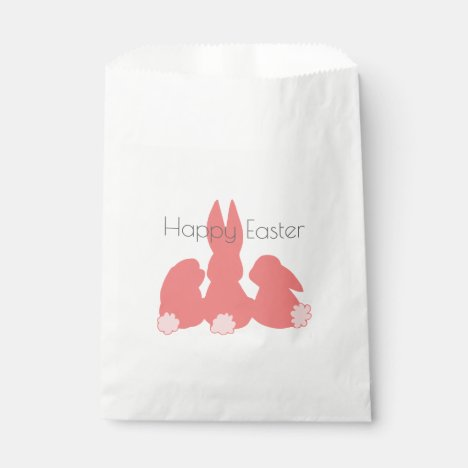Happy Easter - Coral Pink Easter Bunnies Favor Bag
