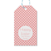 Happy Easter | Coral Pink Plaid Custom Gift Tags