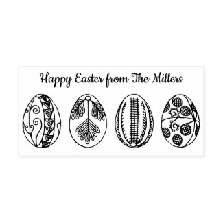Happy Easter Custom Name Hand Drawn Easter Eggs Rubber Stamp