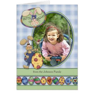 Happy Easter Custom Photo Bunnies & Eggs Card