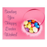 Happy Easter Customizable Pretty PInk Basket Postcards