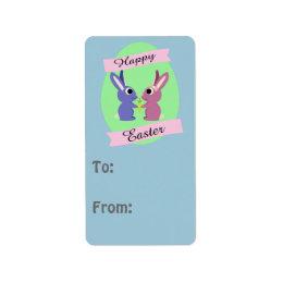 Happy Easter! Cute bunnies Label