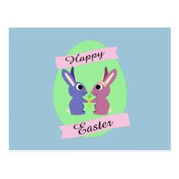 Happy Easter! Cute bunnies Postcard