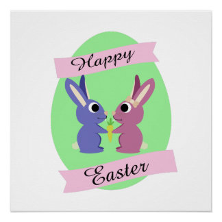 Happy Easter! Cute bunnies Poster