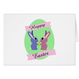 Happy Easter! Cute Bunny Couple Card