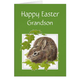 Happy Easter Cute Bunny Special Grandson Card