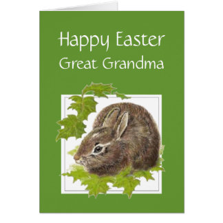 Happy Easter Cute Bunny Special Great Grandma Card
