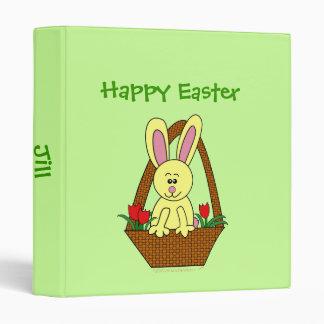 Happy Easter Cute Cartoon Easter Bunny in a Basket 3 Ring Binder
