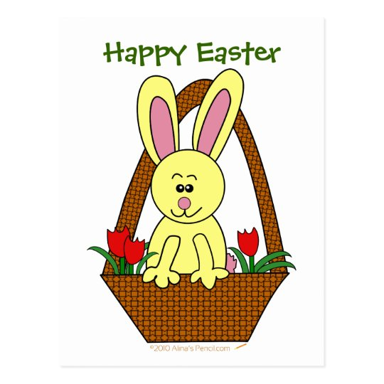 Happy Easter Cute Cartoon Easter Bunny in a Basket Postcard