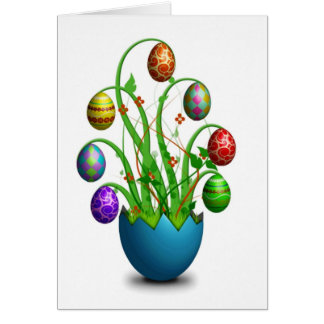 Happy Easter Cute Colorful Easter Egg Tree Card