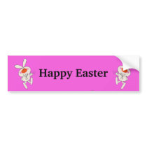 Happy Easter Cute Dancing Rabbit Bumper Sticker