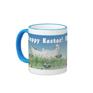 Happy Easter Cute Goats with Easter Basket Ringer Coffee Mug