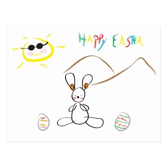Happy Easter - Cute Kids Drawing Postcard