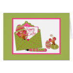 Happy Easter, Cute Mice, Green Pink Polka Dots Greeting Cards