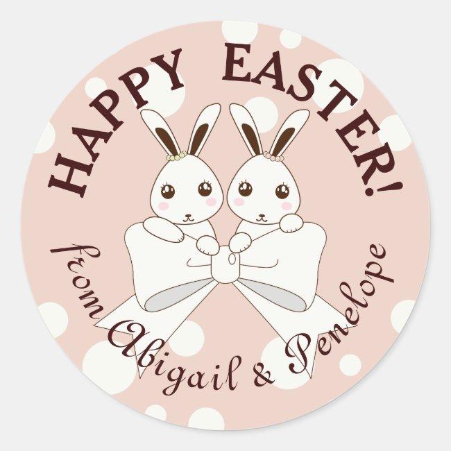 Happy Easter! Cute Twin Bunny Kids Cartoon Pink