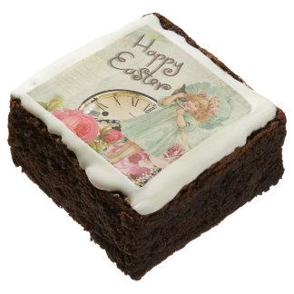 Happy Easter Cute Vintage Girl Cat Flowers Clock Chocolate Brownie