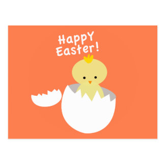Happy Easter Cute Yellow Chick Hatches Postcard