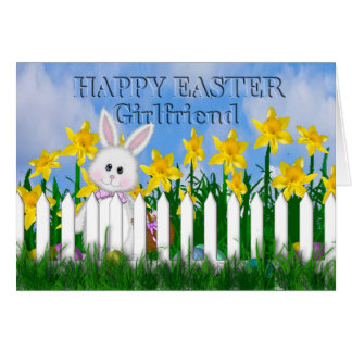 HAPPY EASTER - DAFFODILS AND BUNNY - GIRLFRIEND CARD